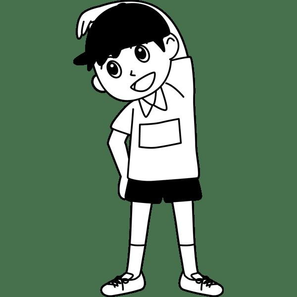 学校 男子生徒(体操着の男の子)(モノクロ)