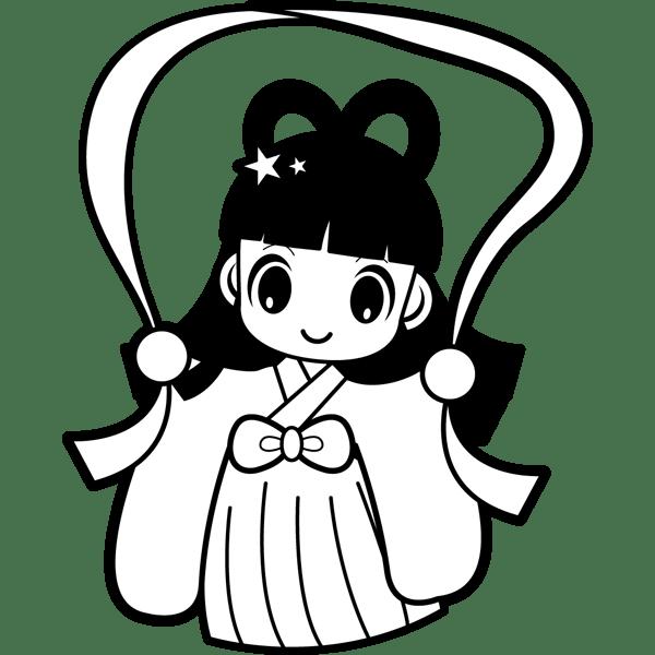 年中行事 織り姫(モノクロ)