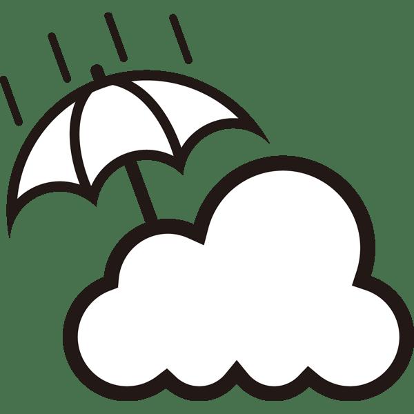 自然 雨時々くもり(天気・傘・雲)(モノクロ)
