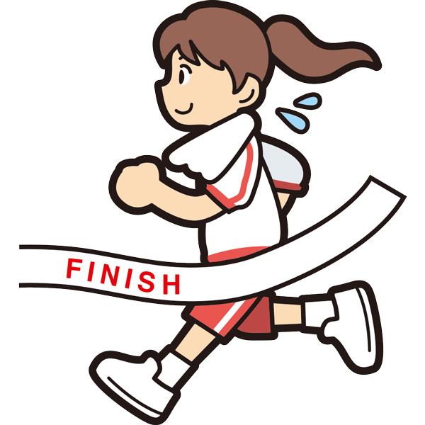 マラソンでゴールをする女の子笑顔半袖 無料イラスト