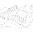 スケッチ画 乱雑なデスク PC