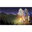 バーチャル背景画像 夜の草原 ゴリラ