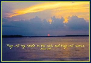 Mark 16:18 Scripture with Hilton Head Island Sunset Photo