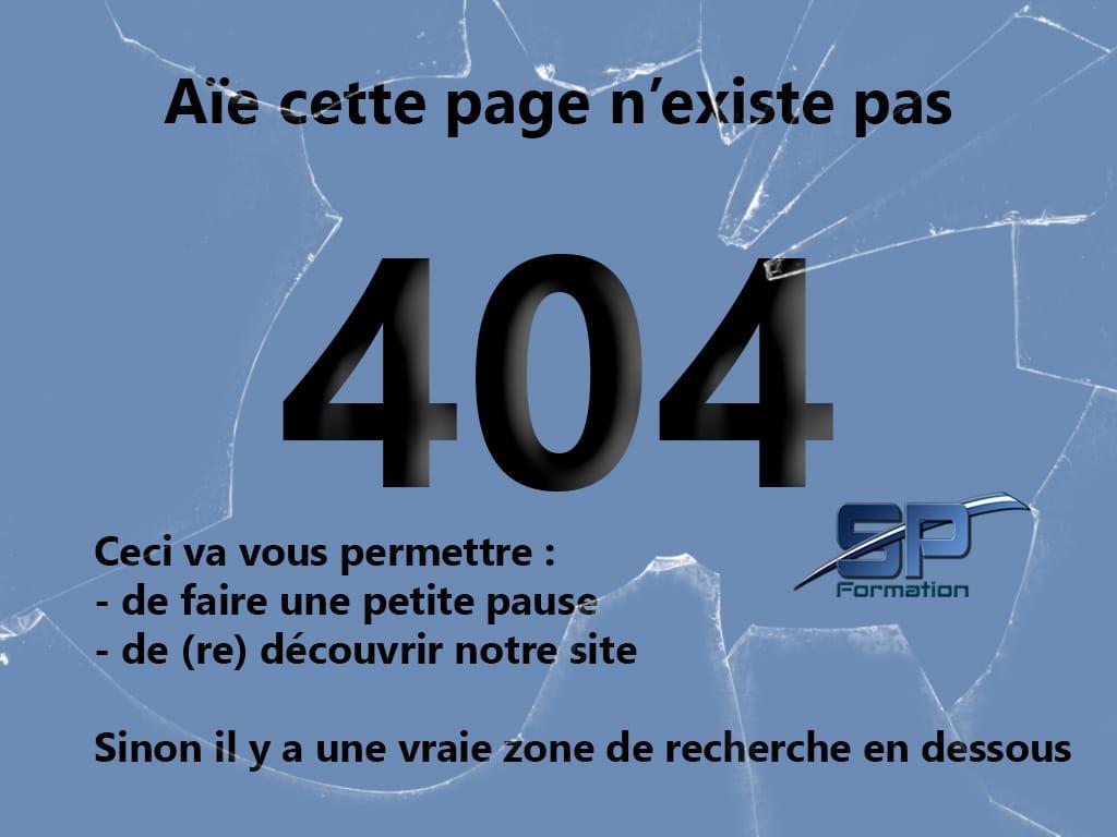 Page non trouvée erreur 404 SP Formation Image