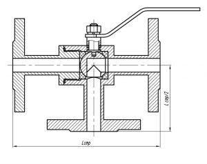 Краны шаровые трехходовые ст.20, 09Г2С, 12Х18Н10Т (чертеж)