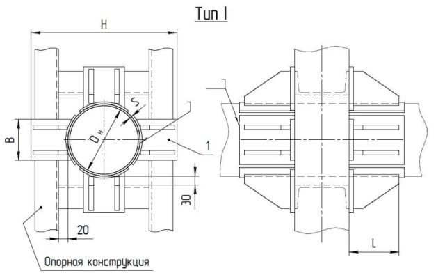 Опоры неподвижные лобовые четырехупорные усиленные Т7 серия 4.903-10 выпуск 4 тип 1 чертеж