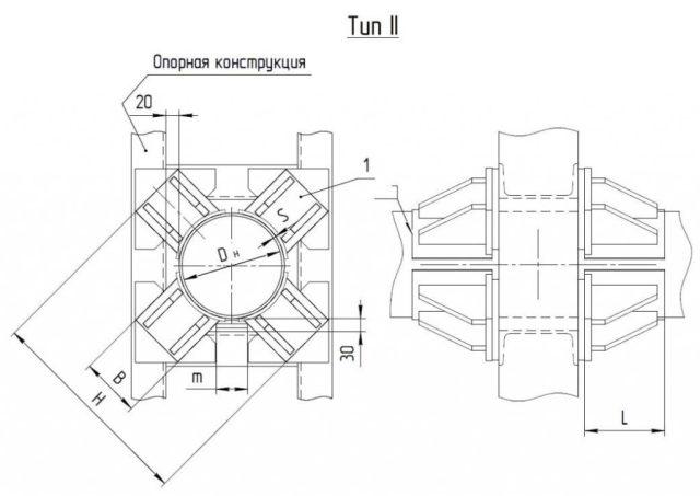 Опоры неподвижные лобовые четырехупорные усиленные Т7 серия 4.903-10 выпуск 4 тип 2 чертеж