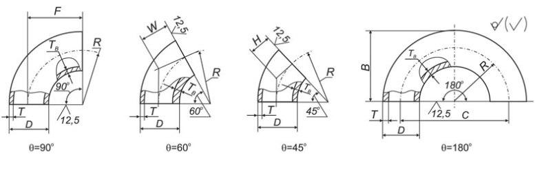 Отводы стальные ГОСТ 17375-01 чертеж