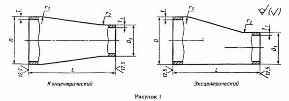 Переходы стальные (К,Э) ГОСТ 17378-01 чертеж