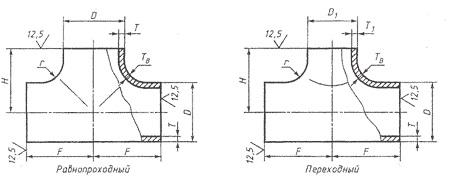 Тройники стальные ГОСТ 17376-01 чертеж