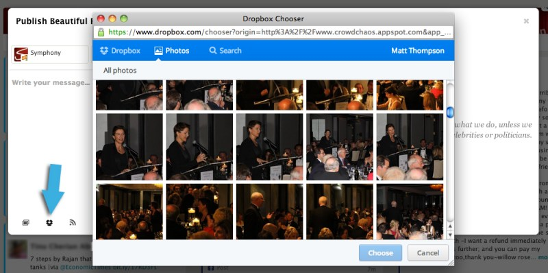 Use images from dropbox with symphony