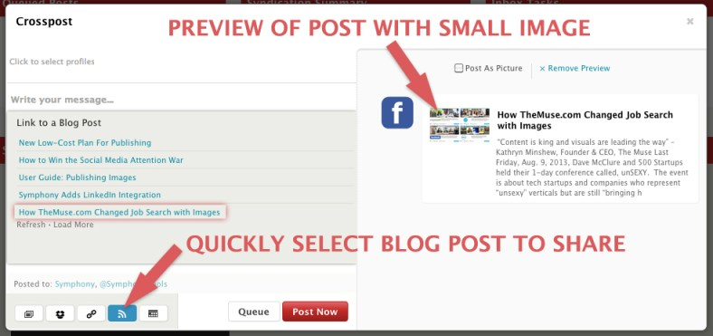How to Select Blog to Share on social media