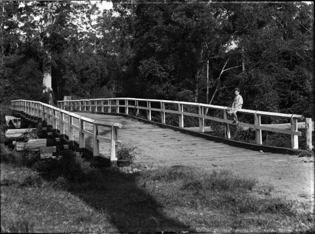 View of wooden bridge with small boy seated on fence