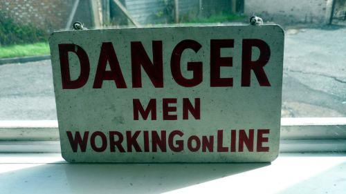 Danger Men Working Online sign, Bletchley Park, Bletchley, UK.JPG