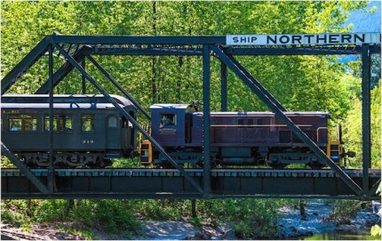 The Northwest Railway Museum train crosses the Snoqualmie River near North Bend. Taken by Danny Raphael