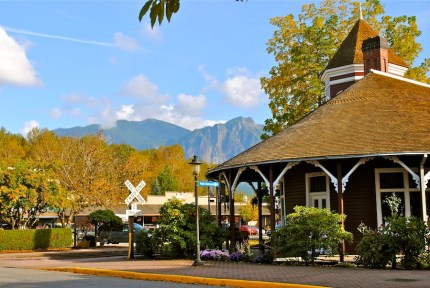 Snoqualmie Train Depot and Mt. Si. Fall 2012. Taken by Susan Kvinge