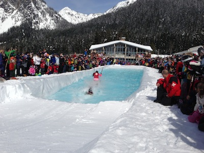 Sunday's Pond Skim event at Summit West, part of 75th Anniversary Celebration, 3/24/13