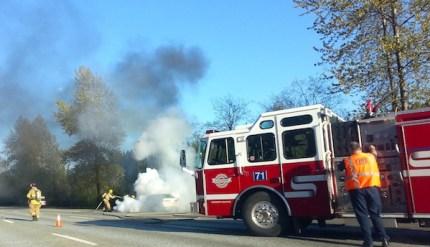 Photo by Jessica Self.  Car fire EB I-90, 4/22/13