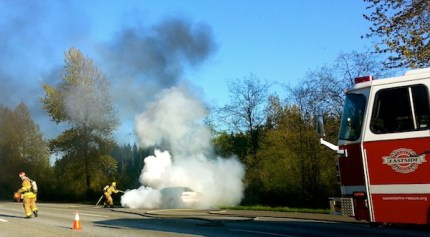 Eastside Fire and Rescue extinguish car fire on I-90 near Preston, 4/22/13.  Photo by Jessica Self
