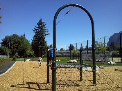 Second new playground near pool entrance, featuring zip line