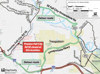 Preston-Fall City Road Closure Detour, July 8th-12th, 2013