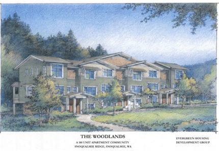 Drawings of Snoqualmie Ridge Woodlands Apartment Townhome community.