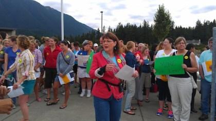 SVEA Union President, Lisa Radmer, at union rally at Twin Falls Middle School on 8/23/13.  Photo: SVEA Union website.