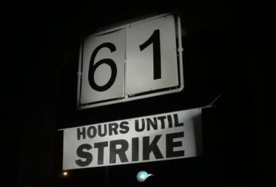 Strike countdown clock in Seattle's Westlake Park, 10/19/2013