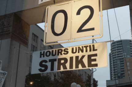 Strike countdown sign in Westlake Park.  Tentative agreement reached with 2 hours to spare
