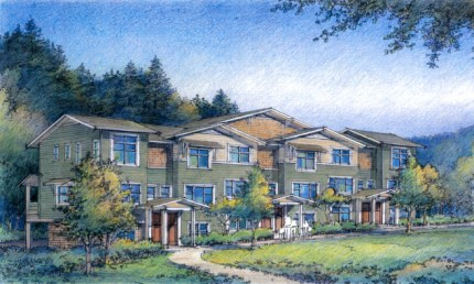Sketch of finished units of The Woodlands townhome development under construction on Snoqualmie Ridge