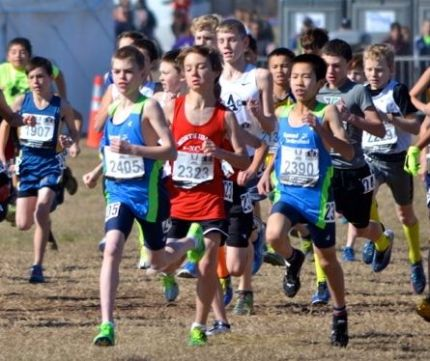 Joe Waskom, #2405, at the start of 2013 Junior Olympics National Cross Country race in San Antonio, TX.