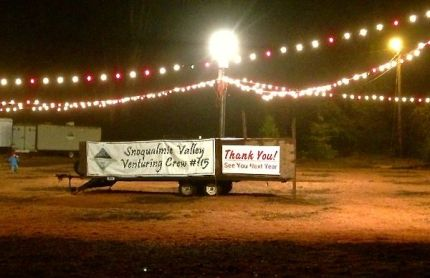 A Thank You note now adorns the Venturing Crew's Christmas Tree Lot sign, which closed 12/17/2013 - a full week early.