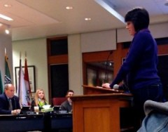 SVSAU Representative, Karen Seiser, addresses school board on 1/9/2014