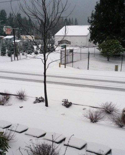 Snow in downtown North Bend, 2/10/14. Photo: Kim Bumb