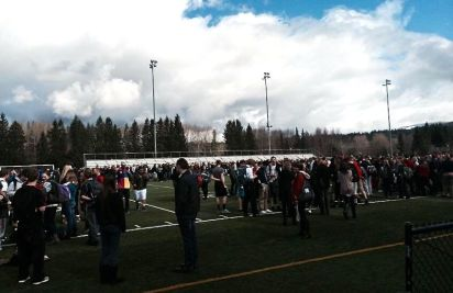 All Mount Si High School main campus students evacuated to stadium field during fire on 3/20/14.