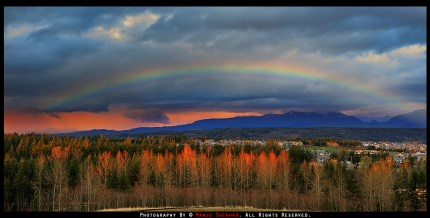 Sunset with Rainbow by Manju Shekhar, 3/28/14, dedicated to the people affected by the Oso mudslide