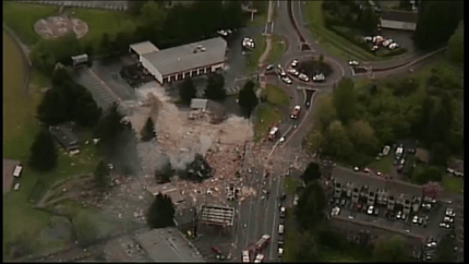 Aeirial shot of explosion destruction from Kiro 7 New helicopter, 4/25/14.  Photo: Kiro 7 Twitter feed.