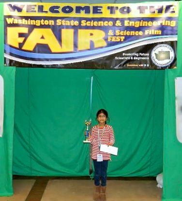 Madhumitha Gandhi after winning 1st place in the Junior Division at the 2014 WA State Science and Engineering Fair.