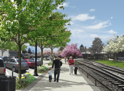 Rendering of Railroad Ave near King Street after the Downtown Infrastructure Project is finished.