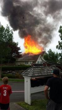 Fire on Fairway Ave on Snoqualmie Ridge, 7/4/14