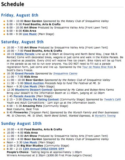 The full schedule of this weekend's events for the Festival at Mount Si.