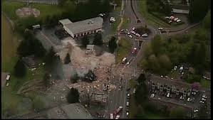 North Bend explosion aerial photo from Kiro News. Pic: Twitter
