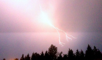 Lightning above Snoqualmie Ridge Deer Park neighborhood, 8/11/14. Pic by Paige McCall
