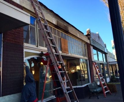 Construction crews reveal George's Bakery original building, 1/7/15