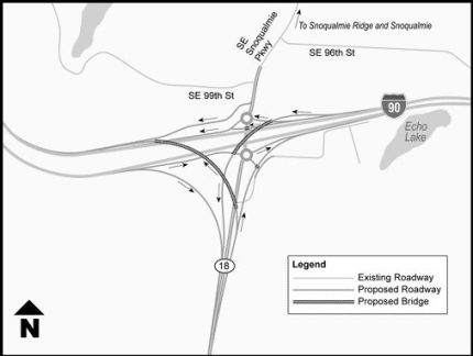 WSDOT Design Concept for I-90/SR 18 Interchange. Photo: screenshot WSDOT website
