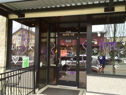 Finaghty's Irish Pub also purpled up its windows in support of Relay for Life.