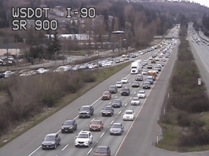 3.13/15: The back up on I-90 eastbound due to a lane closure at Front Street  extended back to the  SR 900 exit as of 4PM