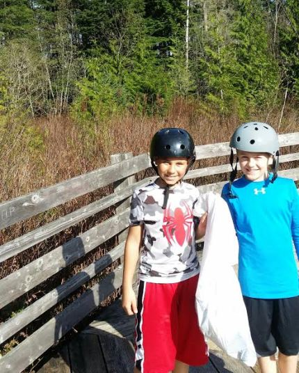 Parker and Brock, helping clean up Stillwater Bog at Snoqualmie Community Park, 3/30/15