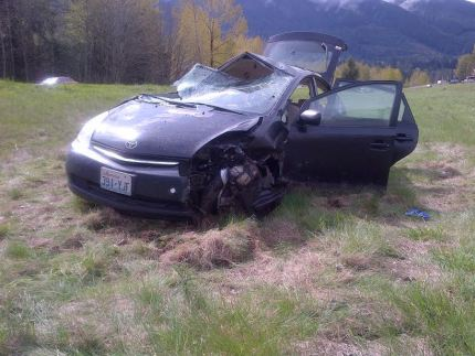 Rollover hit and run collision severely damaged Toyota Prius on I-90 near North Bend on 4/6/15. Photo: WA State Patrol