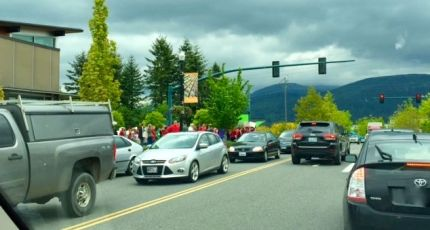 Traffic on Snoqualmie Parkway, 5/15/15, as SVSD teachers stage rally/protest  over lack of education funding from state lawmakers.